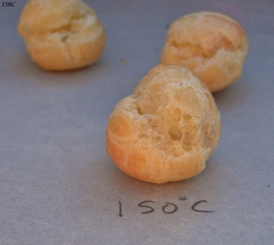 Choux pastry baked at 150C