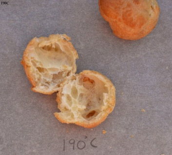 Choux pastry at 190C: open interior
