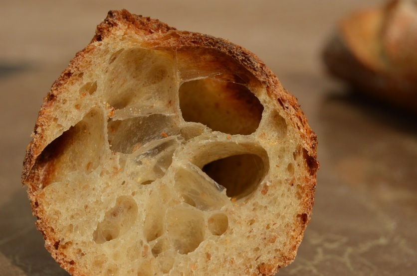 sourdough baguettes: I love the glassy look inside
