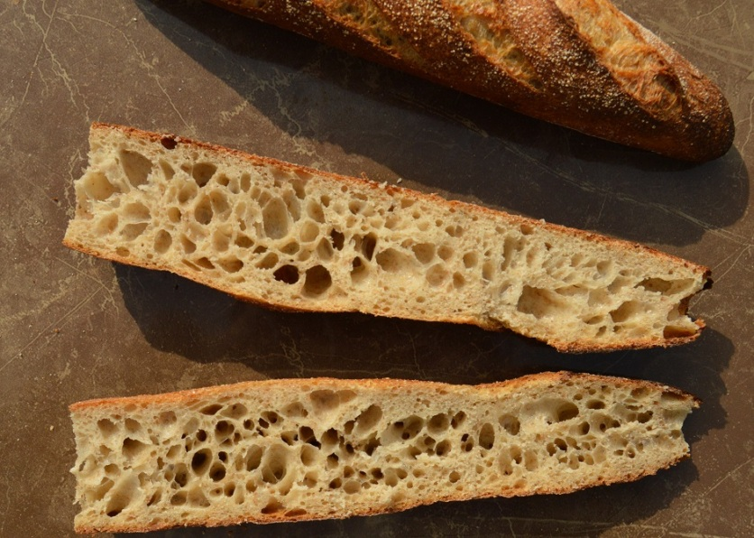 sourdough baguettes: this is the open texture I adore
