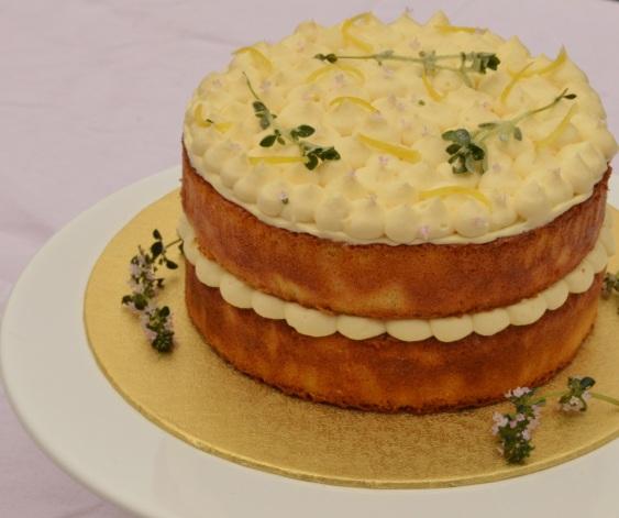 Lemon & thyme drizzle layer cake