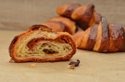 bi-coloured chocolate and orange croissants