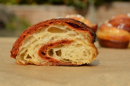 bi-coloured chocolate and orange viennoiserie