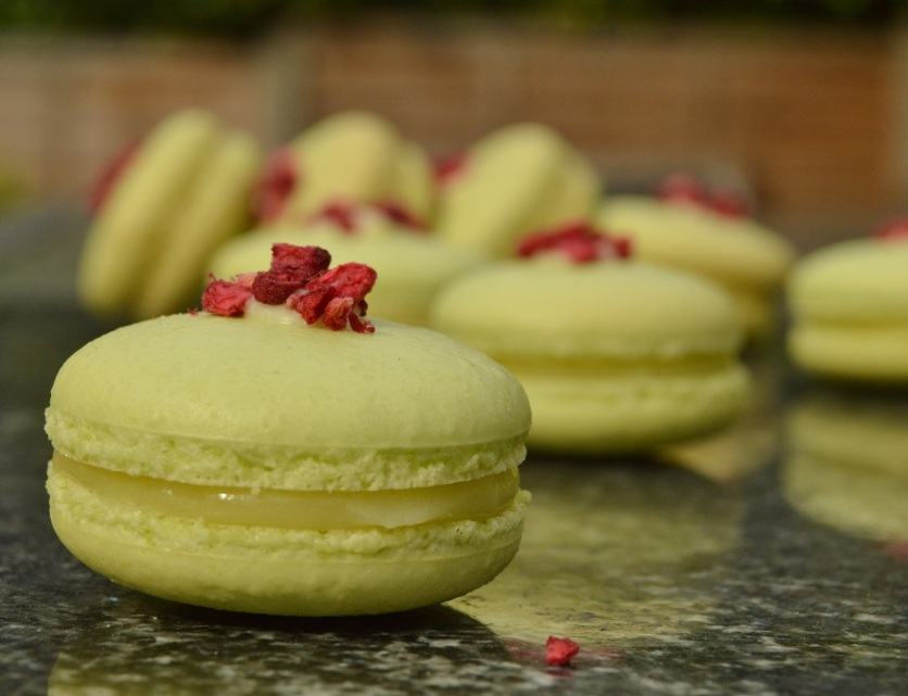 pistachio, lemon and raspberry macarons