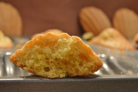 orange and pistachio madeleines
