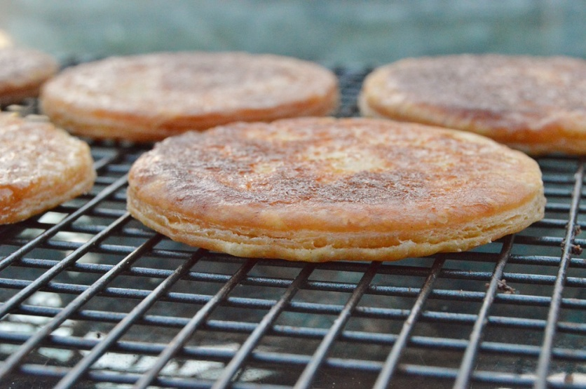 millefeuille pastry discs made