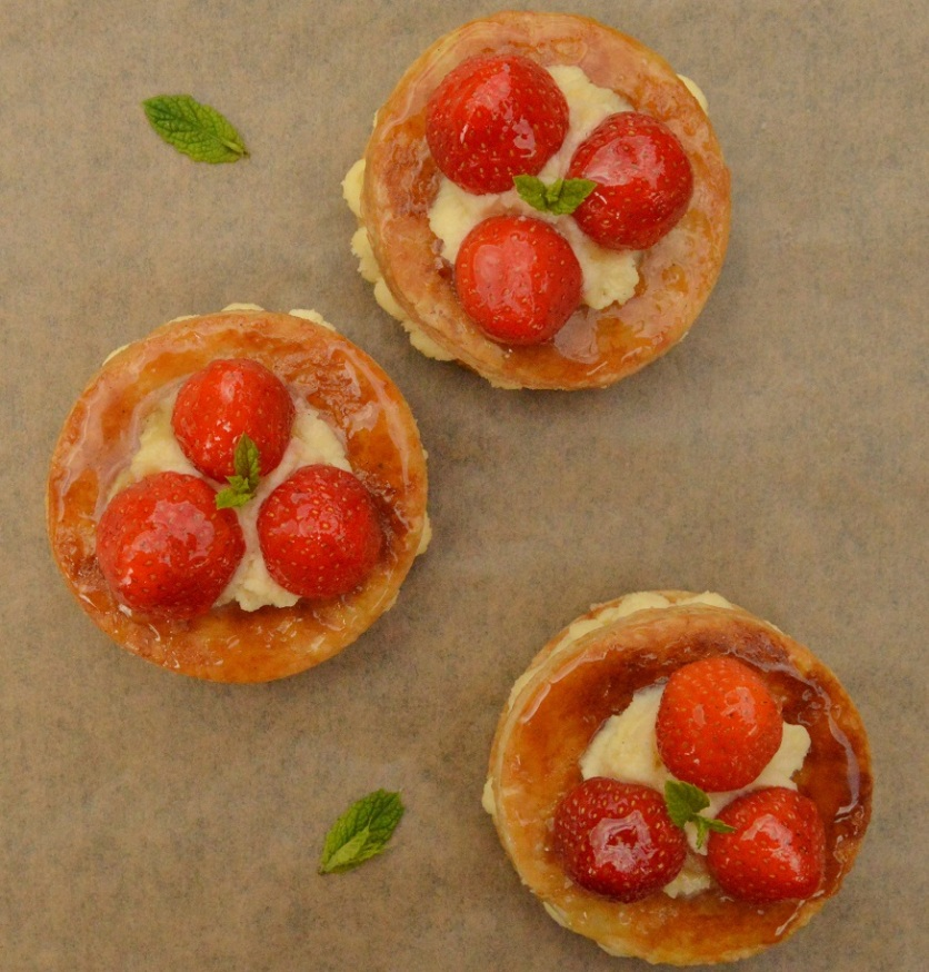 strawberry millefeuille pastries
