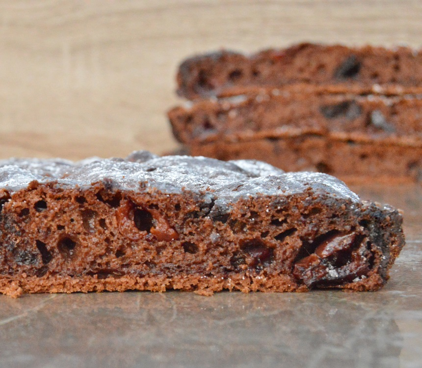 Chocolate and cherry focaccia