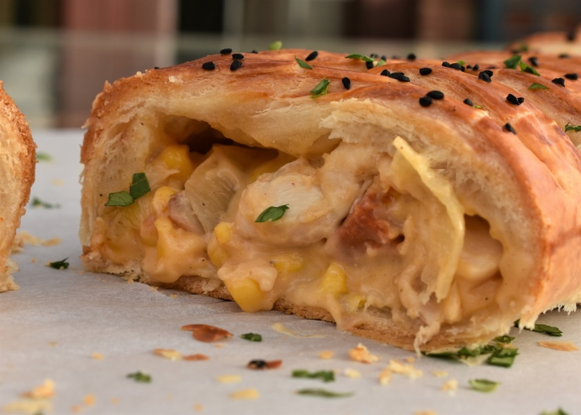 Chicken, chorizo and sweetcorn plaited tart
