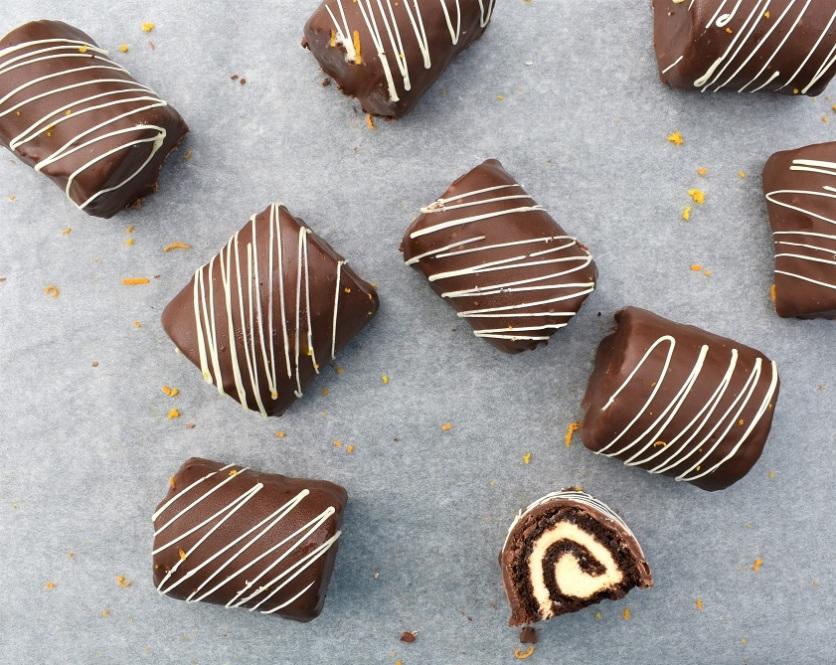 chocolate and orange mini rolls