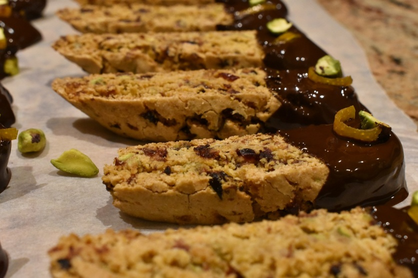 cherry, pistachio and clementine biscotti