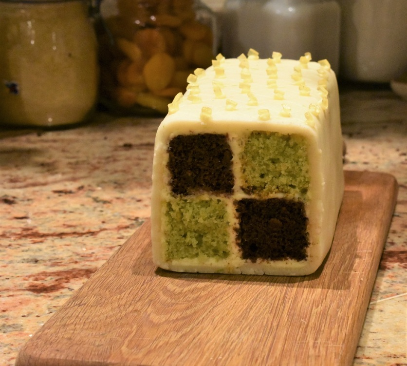 lime and ginger Battenberg cake