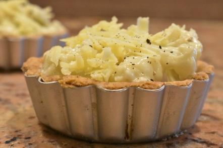 cauliflower cheese tart: ready to bake