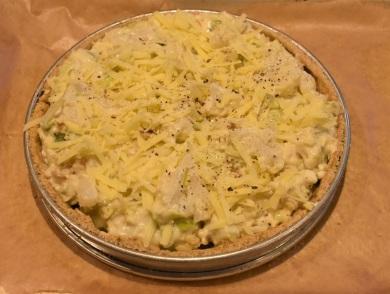 large cauliflower cheese tart: ready to bake