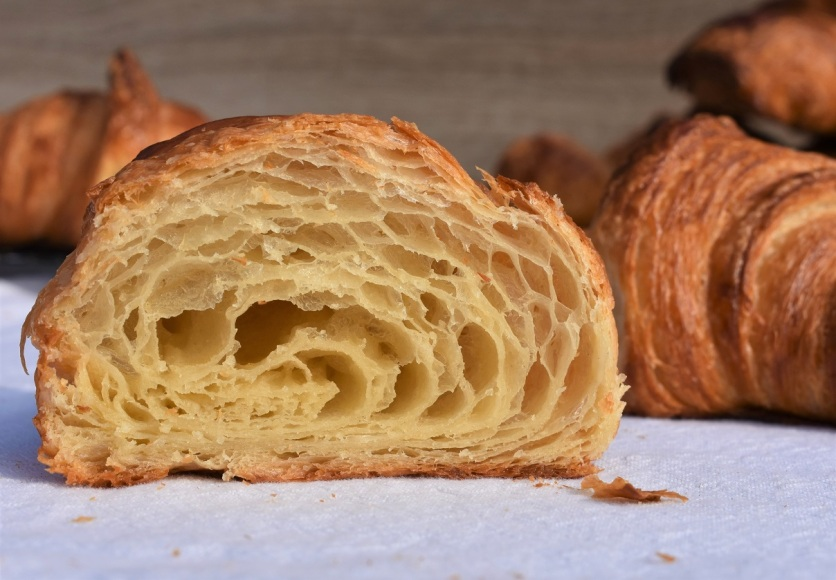 "croissants: open, ""honeycombed"" interior"