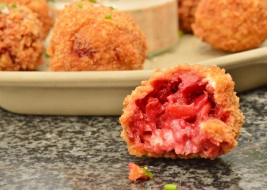 beetroot, walnut and goats' cheese arancini balls