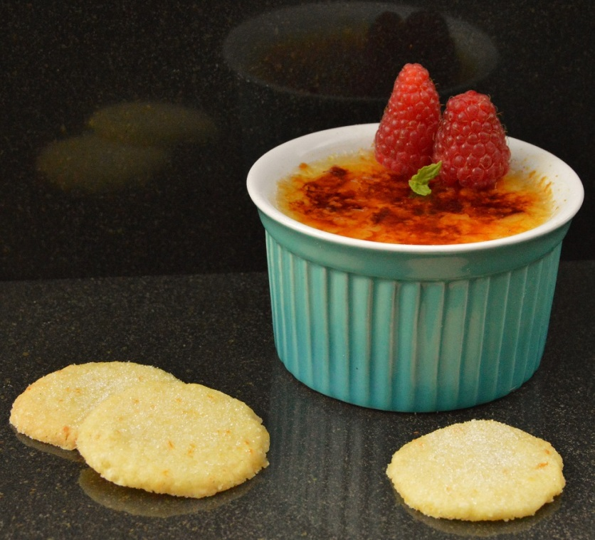 Simple orange & raspberry brûlée with shortbreads
