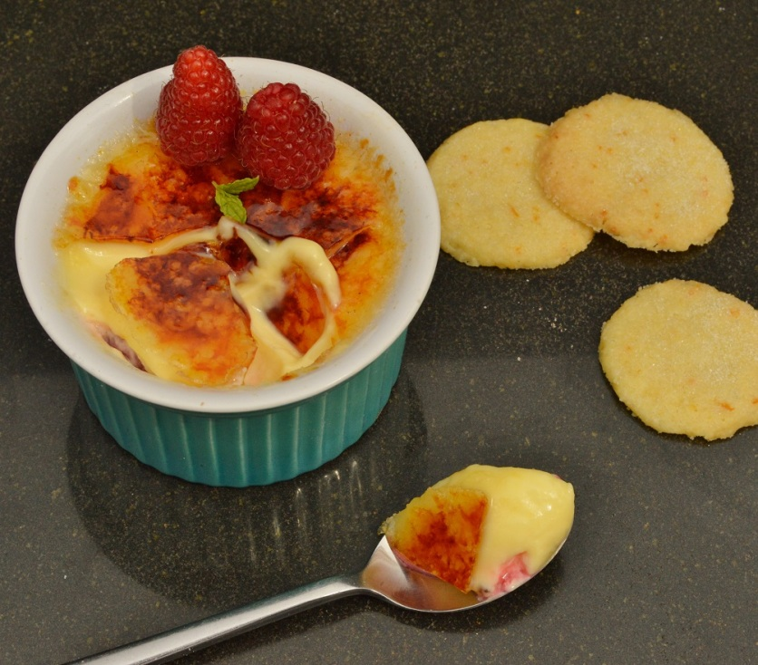 Simple orange & raspberry brûlée