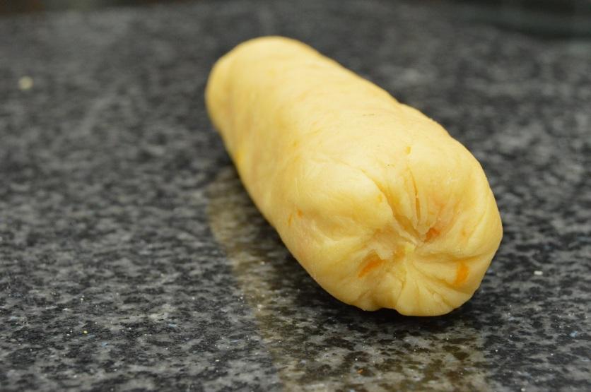 orange shortbread: chilled dough ready to slice