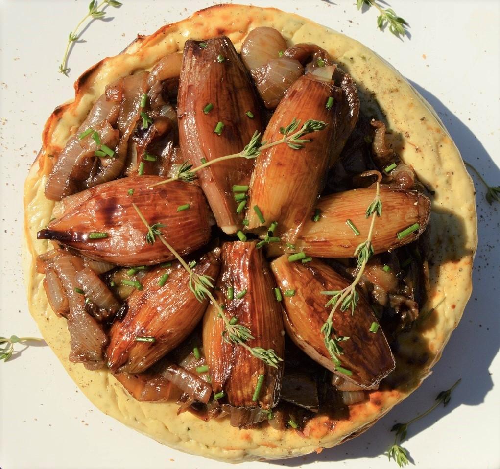 Stilton cheesecake with balsamic & honey roastedshallots