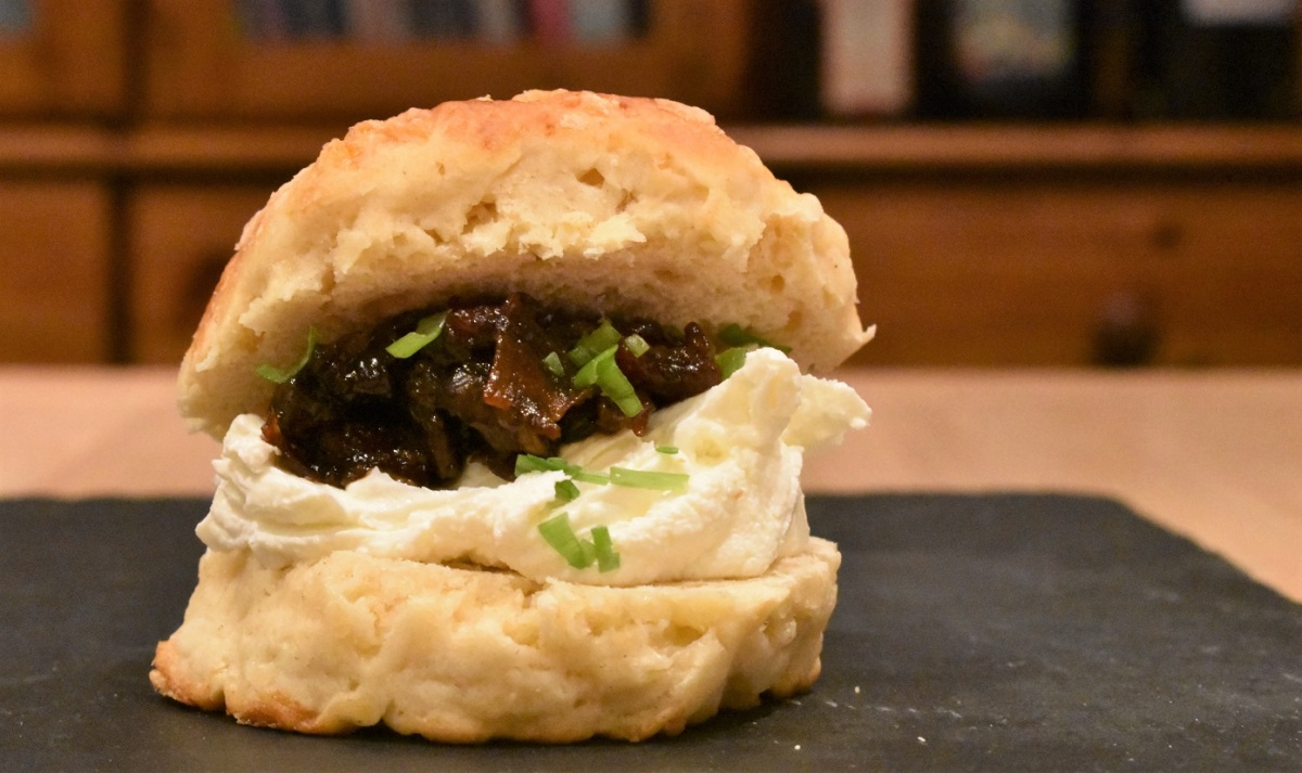 Brie scones with bacon jam