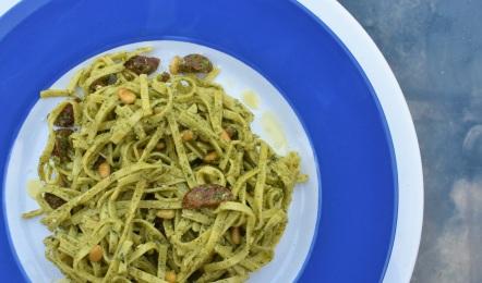 fresh pasta with wild rocket pesto