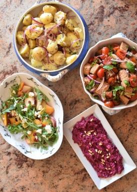 quartet of salads using ingredients lying around