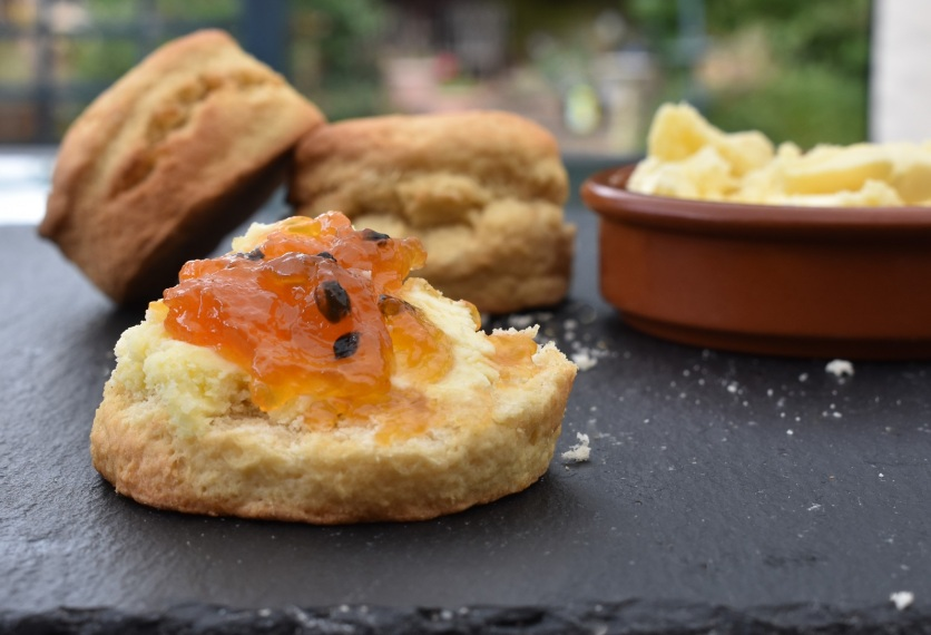 Stem ginger scones with homemade lemongrass clotted cream
