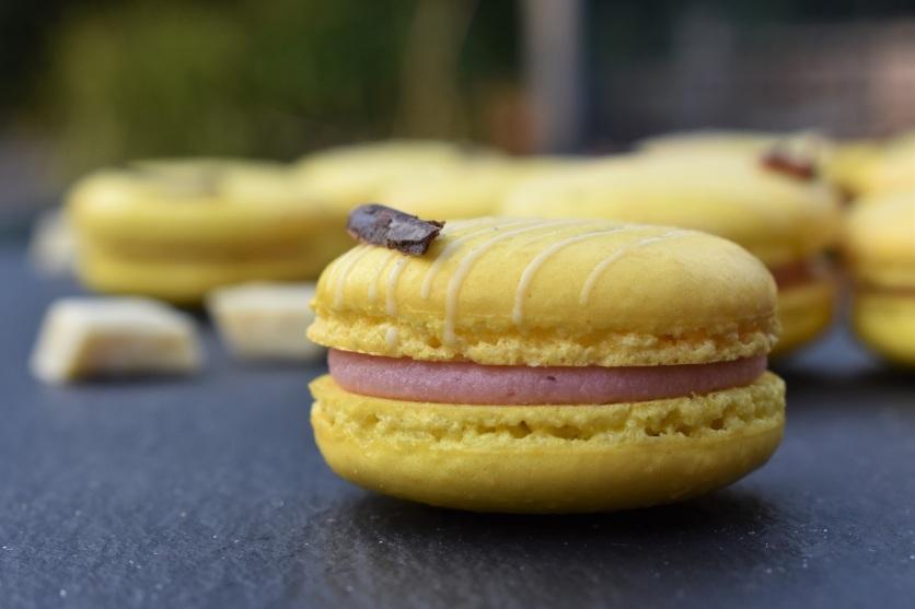 Lemon and raspberry macarons