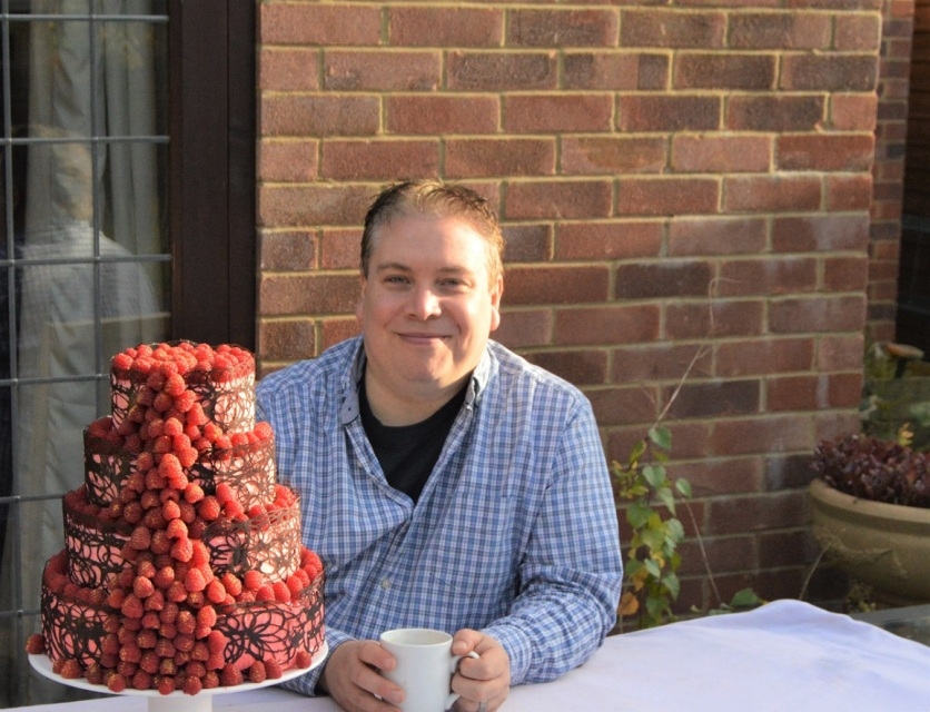 Me with our Anniversary Cake I made