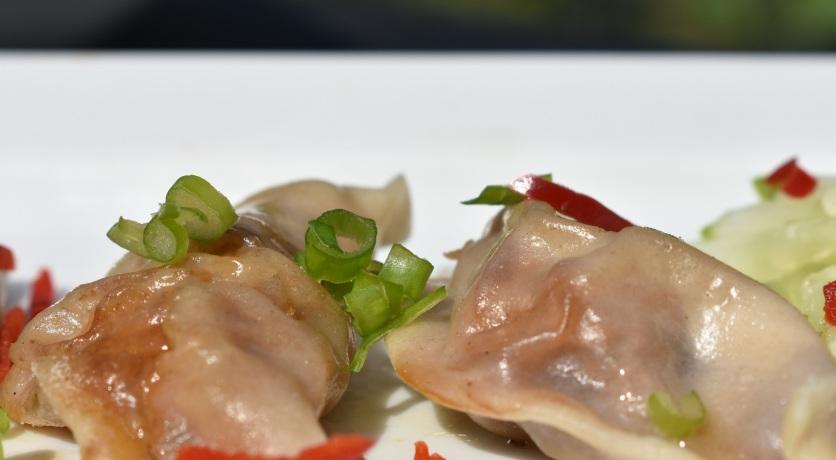 jiaozi : prawn and pork steamed dumplings