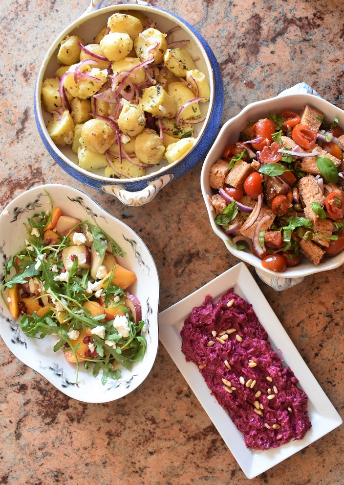 Quick spiced beetroot dip & easy salads