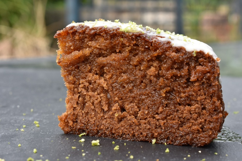 sticky ginger & lime cake, topped with a ginger-lime icing