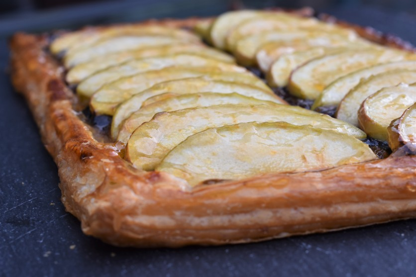 Apple, marzipan and mincemeat tart