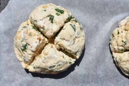 soda bread: cut deeply & ready to bake