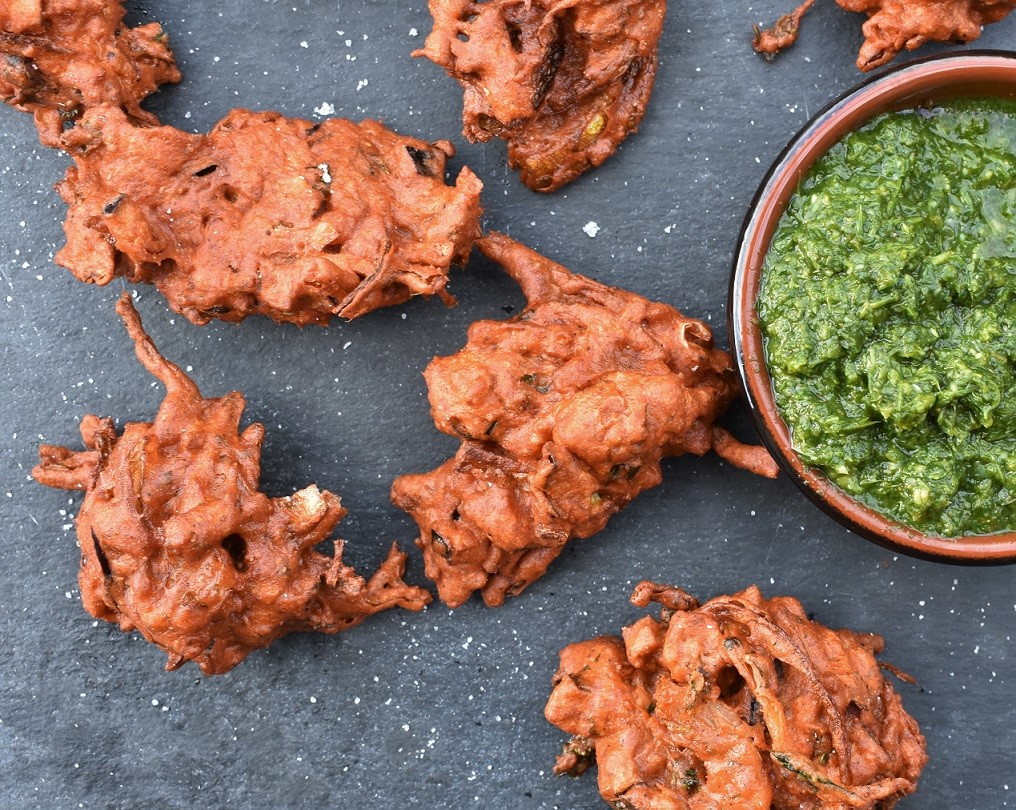 Aubergine & onion pakoras with roasted cumin salt