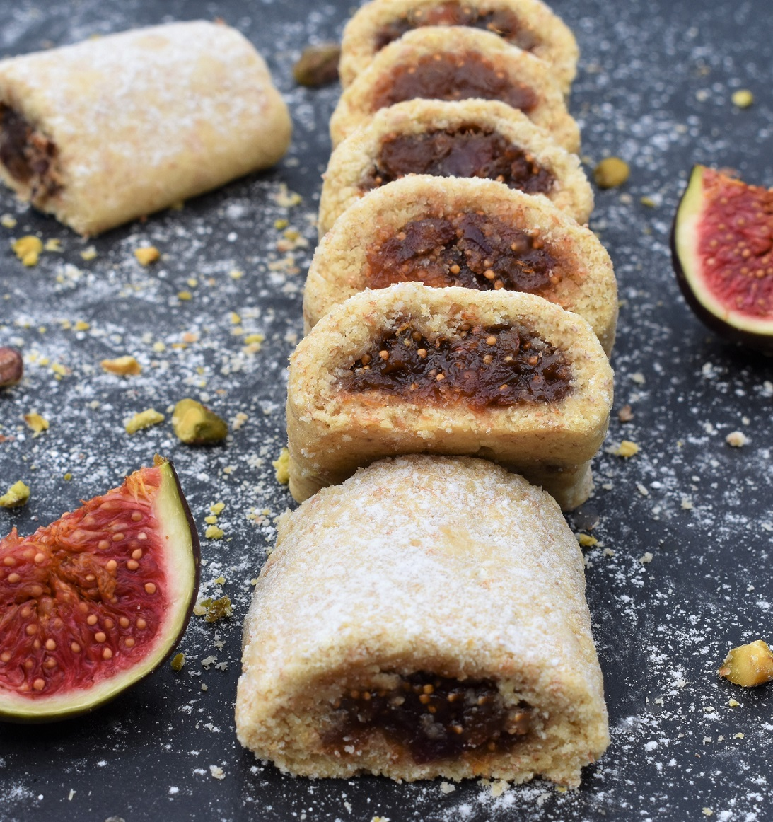 Fig, rose & pistachio rolls