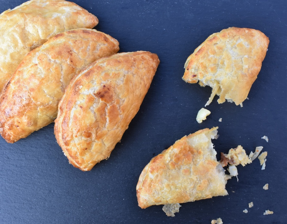 Smoked cheese & onion pasties